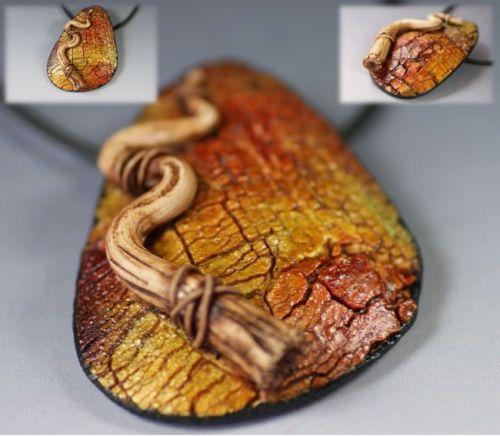 pendentif craquelé orangé